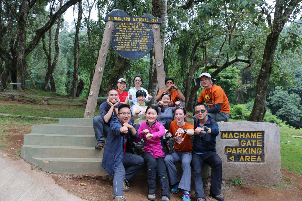 Beginning of the hike, at the Machame gate