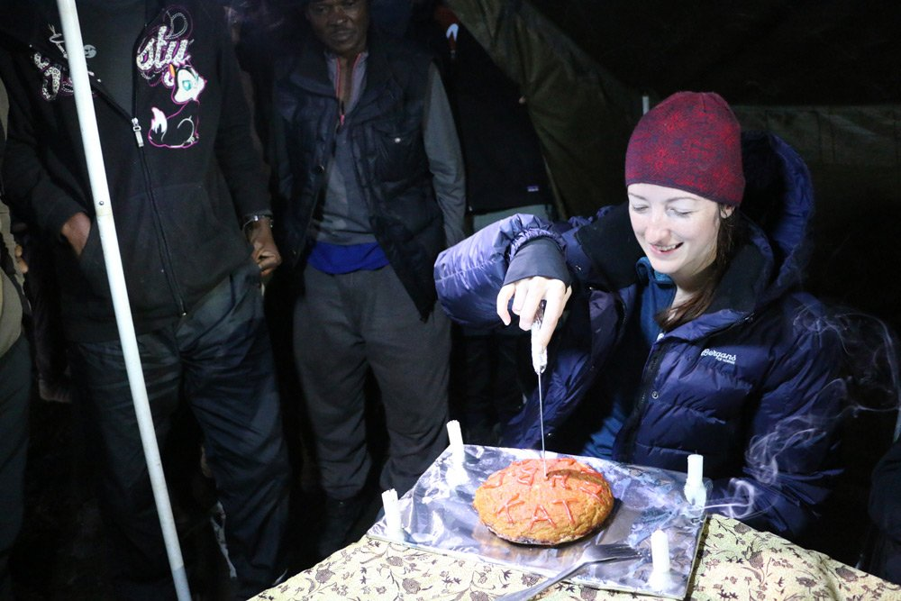 Mountain cake for Kathryn's birthday at Karanga camp (Day 4)