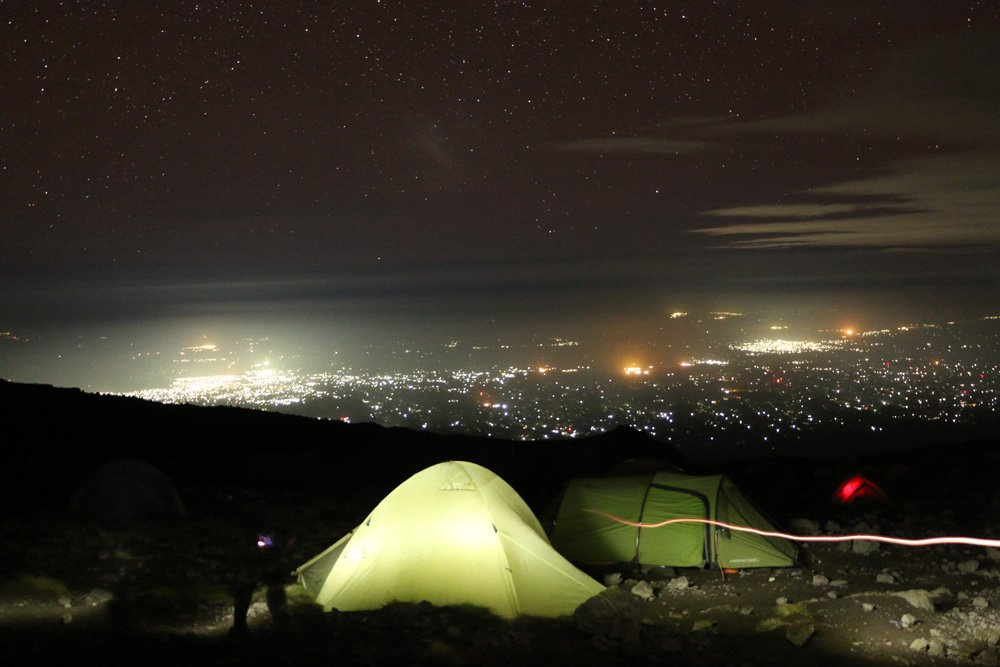 View of Tanzanian plains at night from Karanga camp (Day 4)
