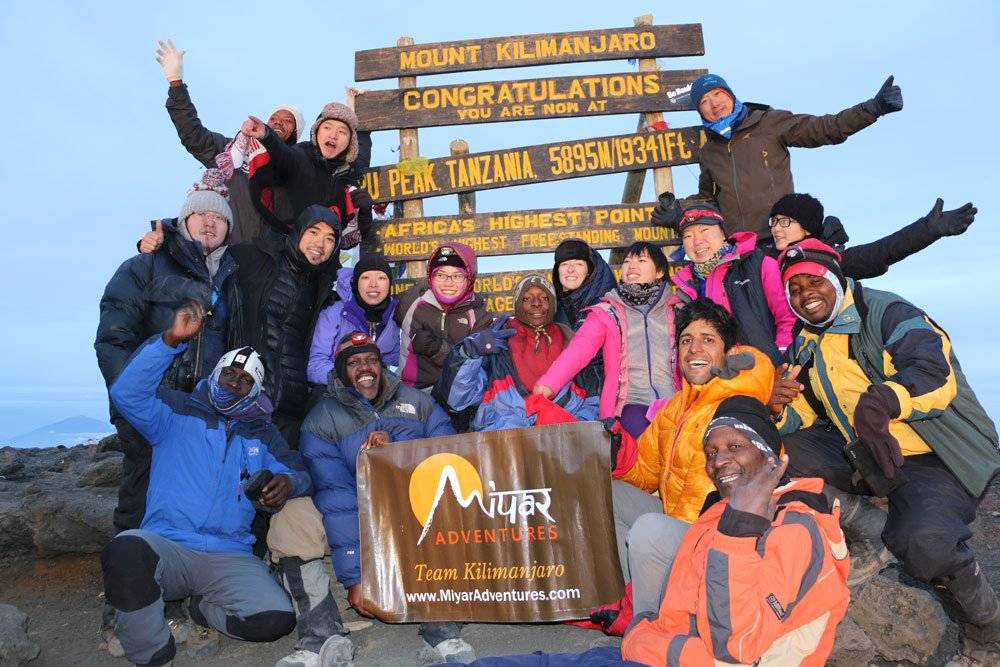Mission accomplished, the group at the summit (Day 6)